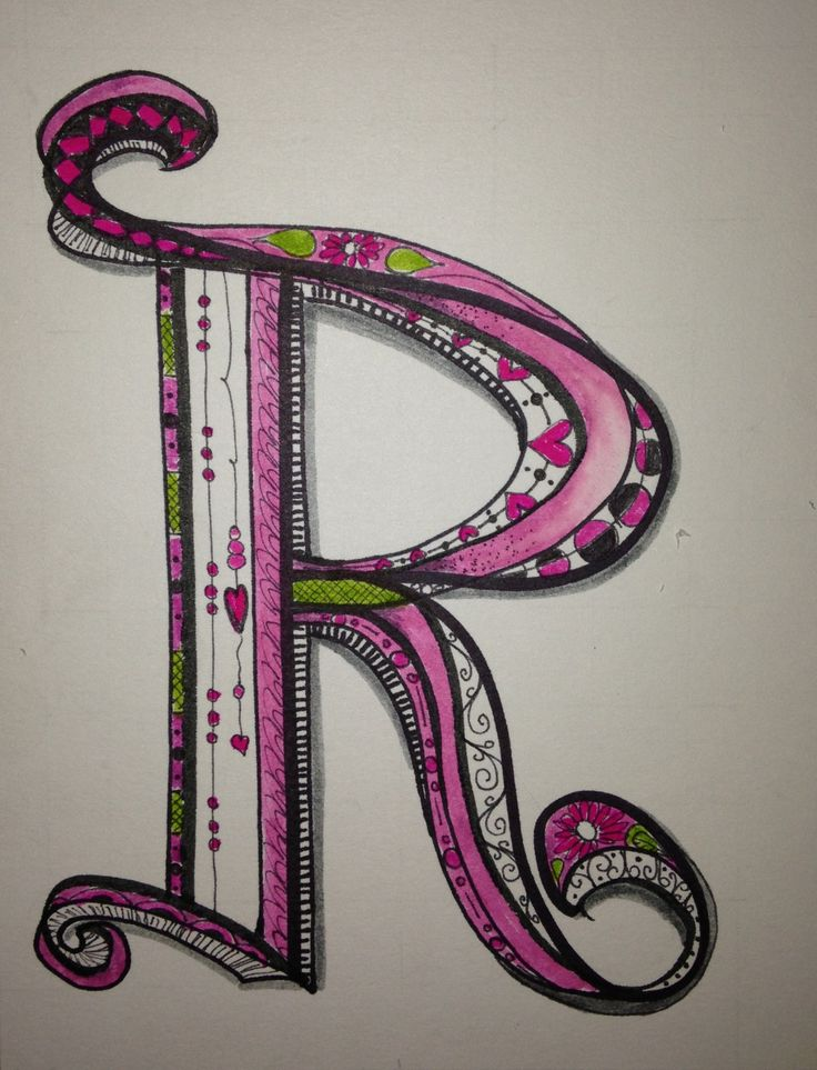 "Letter ""R"" - Another letter for my Zen Tangle / Doodle Art Alphabet!                                                                                                                                                                                 More"
