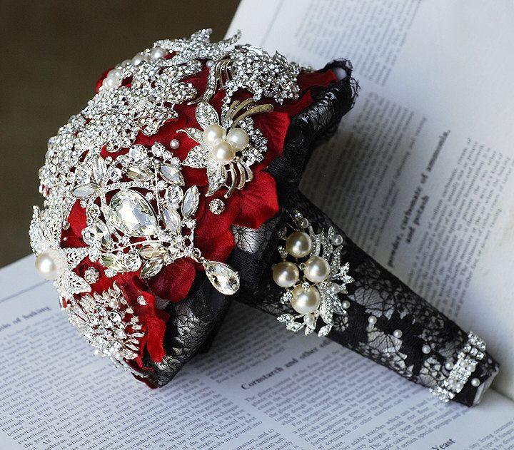 Vintage Bridal Brooch Bouquet Pearl Rhinestone Crystal