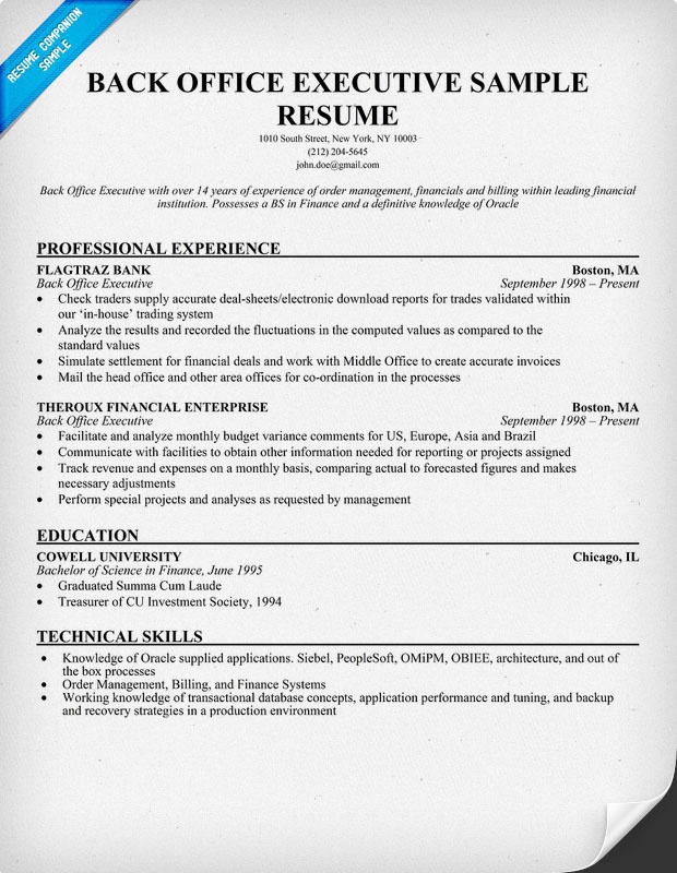 sample resume for bank back office executive