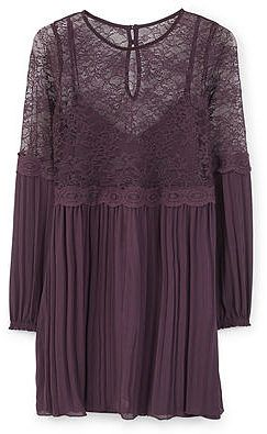 Womens aubergine lace panel dress from Mango - £39.99 at ClothingByColour.com