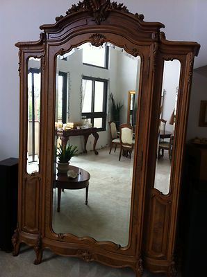 antique armoire with mirror Antique Armoire, French Country Louis XV, Solid Walnut w Beveled  antique armoire with mirror