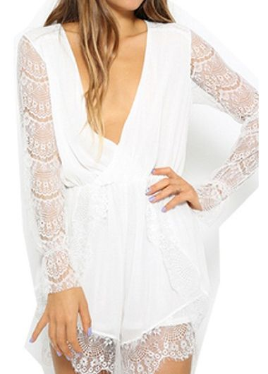 Charming Deep V Neck Long Sleeve Woman Rompers