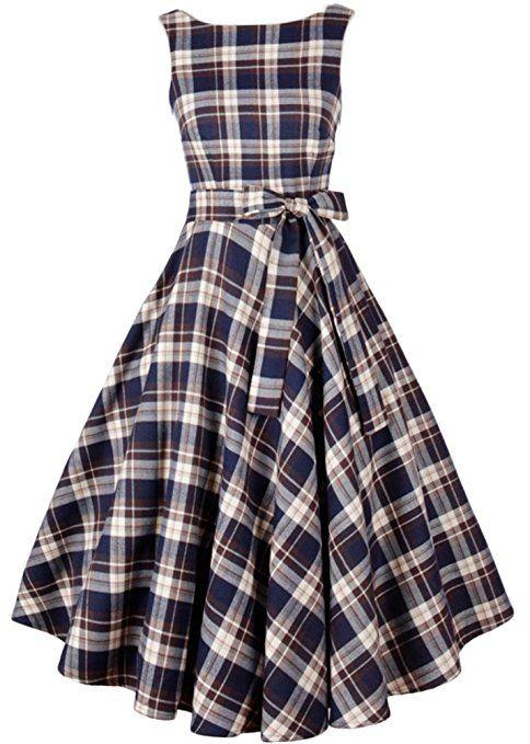 Eudolah Damen 1950er Vintage Karo A-Linie Schwingen Abendkleid Party Kleid Cocktailkleid Rockabilly: Amazon.de: Bekleidung