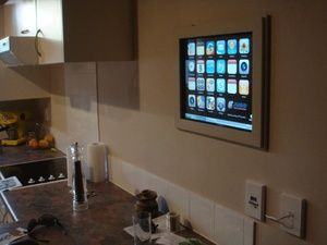 """""""Hacker Ryan of the blog Studio Lights created the iKitchen with a handy iPhone-like interface that can track a kitchen database with a barcode scanner, manage to-do lists, recipes, and plenty more"""" (Thorin Klosowski of LifeHacker)."""