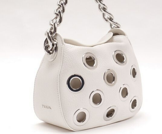 Latest Prada Summer 2016 PRADA Calf leather bag with grommets chalk white