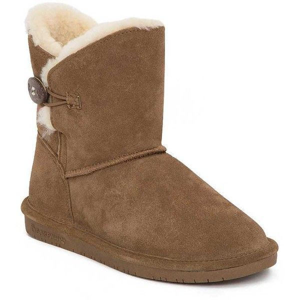 Bearpaw Rosie Boot ($52) ❤ liked on Polyvore featuring shoes, boots, bearpaw boots, bearpaw footwear, leather boots, real leather shoes and real leather boots