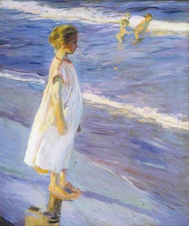 """Niña en la playa"" de Joaquín Sorolla/ ""Girl on the beach"", by Joaquín Sorolla. www.spanishcronopios.info"