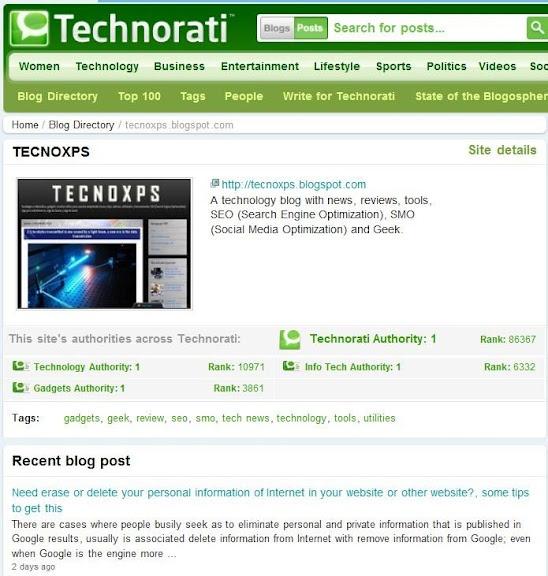 TECNOXPS en las categorías de Technorati