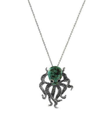Green Turquoise & Marcasite Octopus Pendant Necklace #zulilyfinds