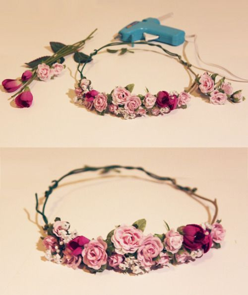 """thereallycheapblog: """"DIY flower crown for my sister. Thrifted fake flowers $0.75, a glue gun, and some scissors is all you need. """""""