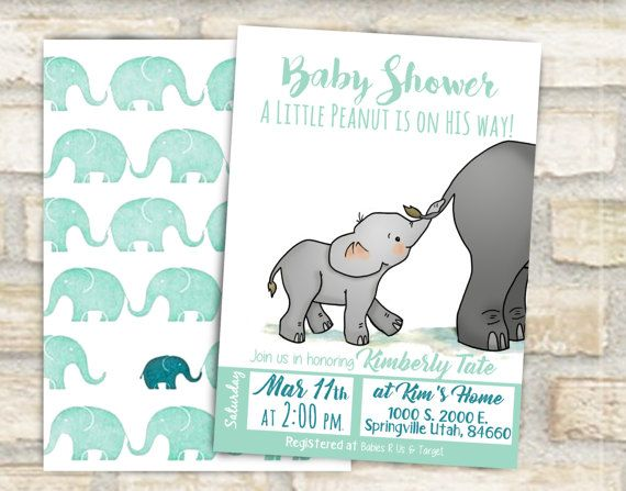 Baby elephant holding moms tail hand drawn original art theme invitation for a baby shower or first birthday with baby and mother elephant. So cute for baby shower ideas