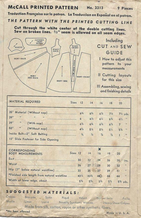 1939 vintage naaien patroon AVONDJURK B34 1168 McCall door tvpstore