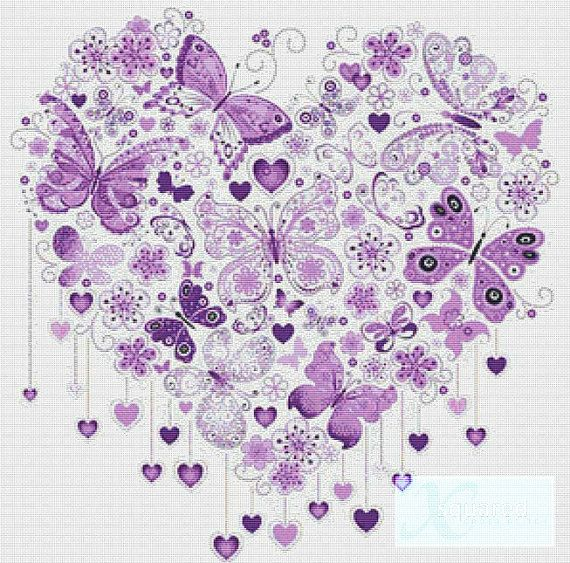 Purple Butterfly Heart counted cross stitch pattern PDF - instant download!  Pattern includes:  1 x 19 page PDF cross stitch pattern, 1 x cover sheet which shows image of completed design Instructions and symbol key List of thread lengths  Finished size on 14 count aida fabric is 55cm x 55cm (custom sizes available on request)  Stitches: 288 x 292  Floss: DMC  Black and white chart using full cross stitches only  Difficulty: Expert  Colours: 47