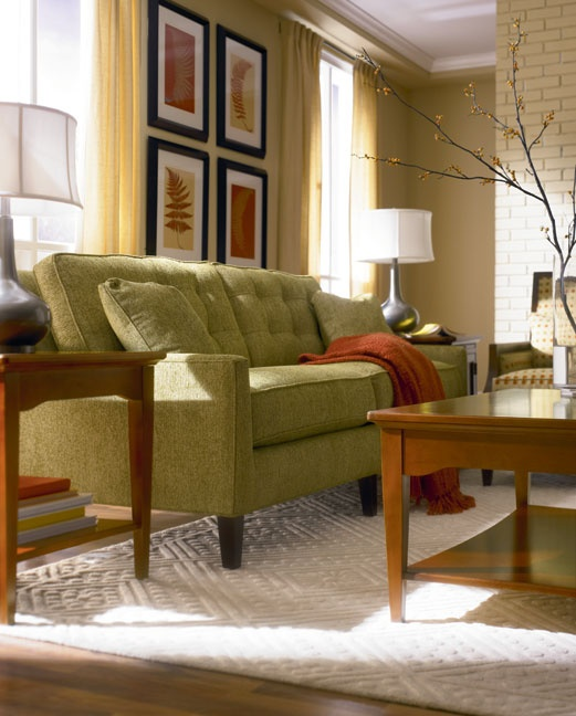 cinnamon hill living room featuring highlife biscuit back sofa by thomasville. beautiful ideas. Home Design Ideas