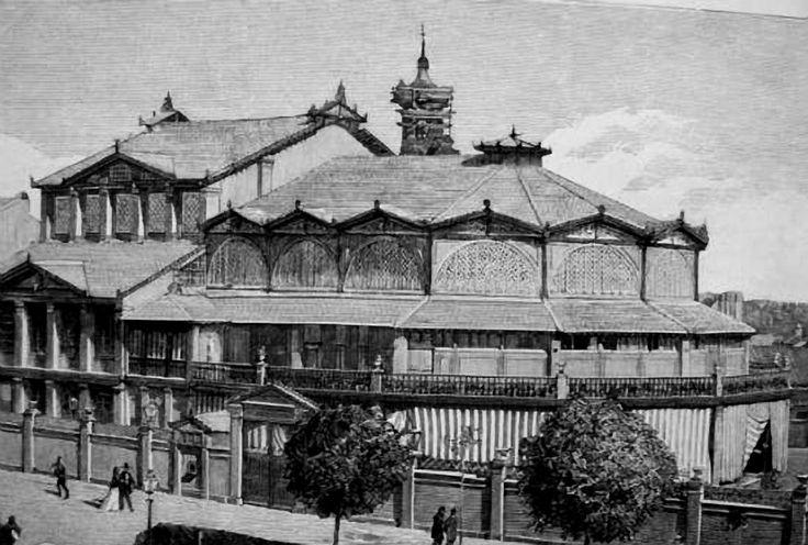 Zaragoza - Teatro Pignatelli, situado en el actual Paseo de la Independencia en el lugar que actualmente ocupa el edificio de Correos y Telefónica