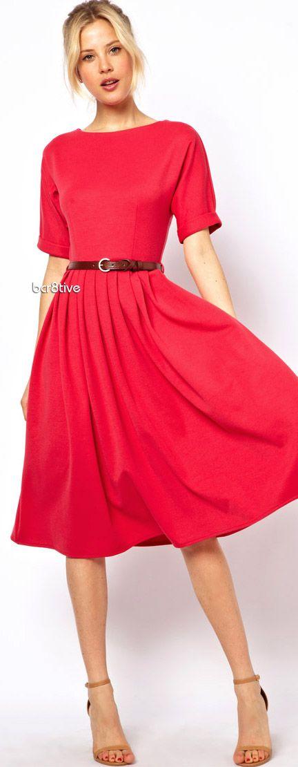 Full Skirt Midi Dress