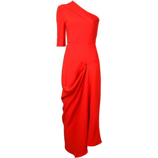 Stella McCartney one shoulder dress ($620) ❤ liked on Polyvore featuring dresses, red, red cocktail dress, mid length dresses, one shoulder red cocktail dress, one shoulder cocktail dress and one sleeve dress