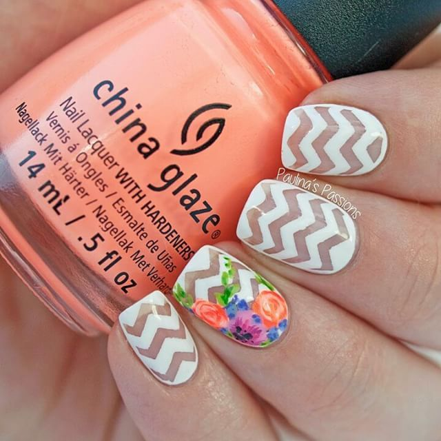 Floral over Chevron Nails