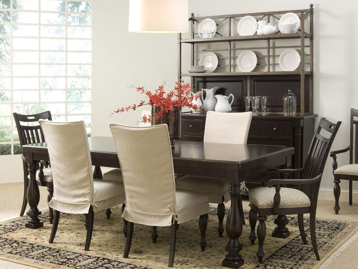 Use Tie Up Slipcovers To Add A Decorative Touch Your Dining Room Furniture In This Seating Area Cream Complement Bare End Chairs And Create