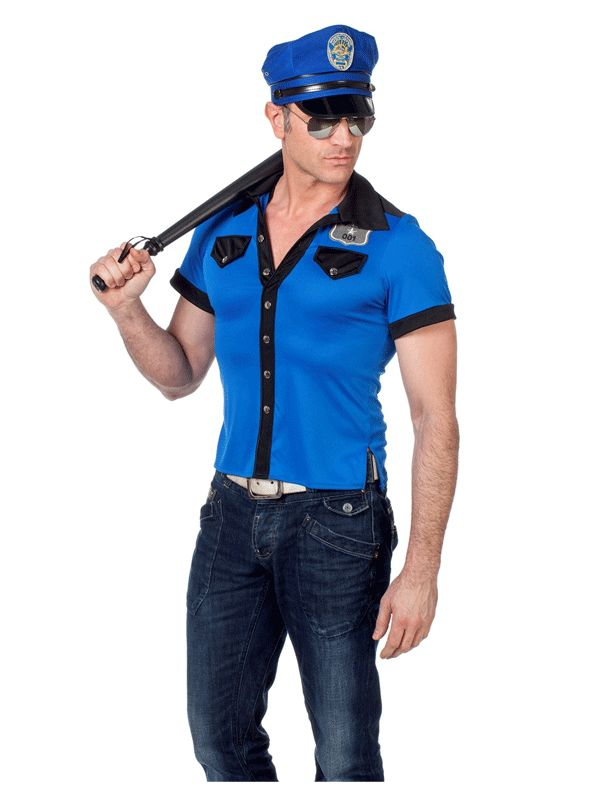 Politie shirt voor heren. Blauwe heren poloshirt in politie stijl van gladde polyester stof. Sexy body-fit model. Carnavalskleding 2015 #carnaval
