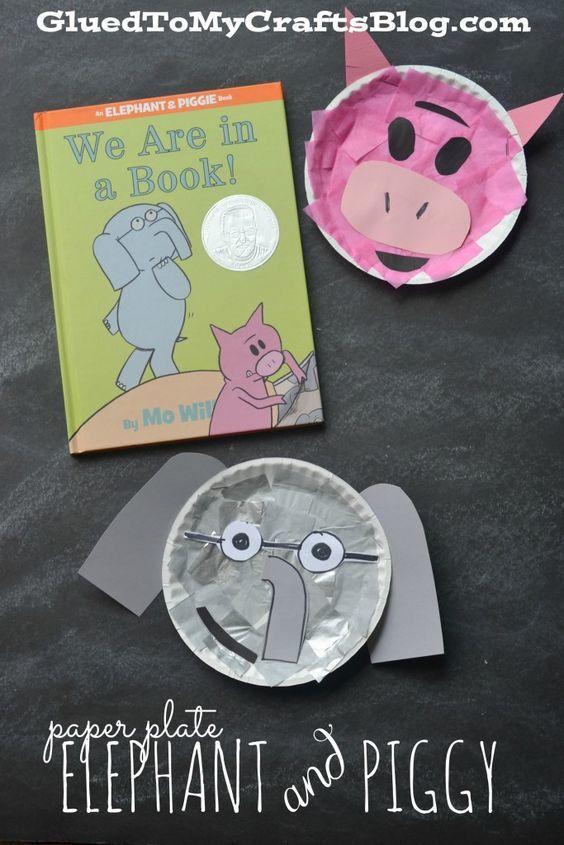 Fun craft for kids — make a paper plate Elephant & Piggie!