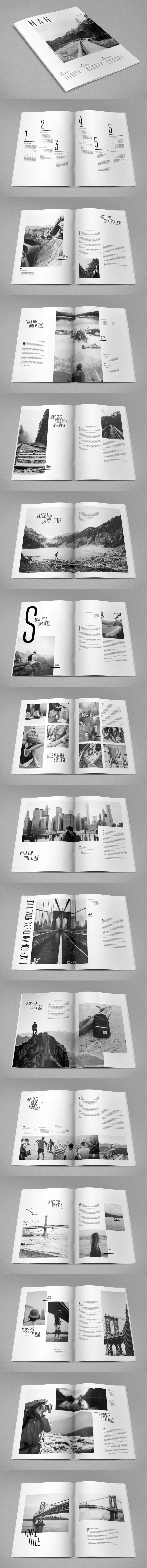 Cool Minimal Photography Magazine Template InDesign INDD A4 and US Letter Size