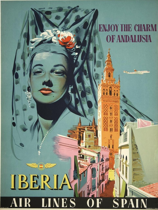 Andalusia—Iberia Air Lines of Spain #vintage #poster