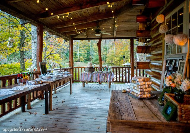 upper-cabin-deck-wedding-decorations-upcycledtreasures - Hard to see in the background-I love the mini ribbon curtain in front of the dessert table