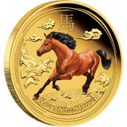 Everyone born in the Year of the Horse is considered to be independent, hardworking, energetic, optimistic and animated | Australian Lunar Series II 2014 Year of the Horse Gold Proof Coloured Editions