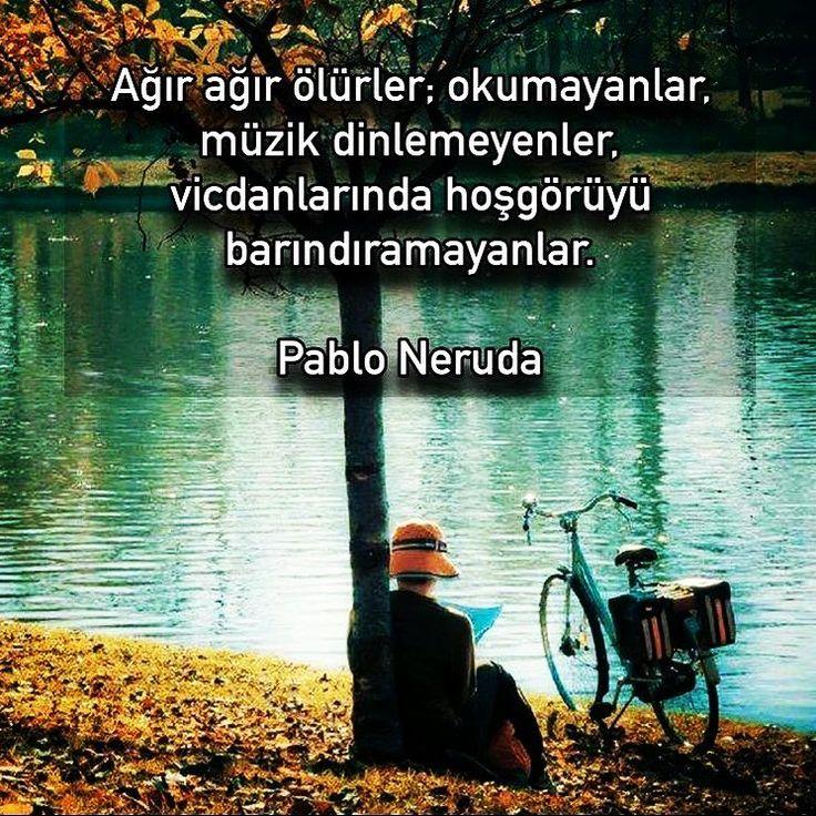 Ağır ağır ölürler; okumayanlar, müzik dinlemeyenler, vicdanlarında hoşgörüyü barındıramayanlar. - Pablo Neruda (Kaynak: Instagram - birazedebiyat) #sözler #anlamlısözler #güzelsözler #manalısözler #özlüsözler #alıntı #alıntılar #alıntıdır #alıntısözler #şiir #edebiyat