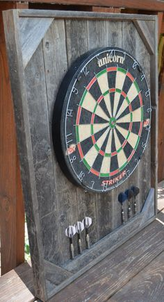 Dart Board Backboard Cabinet Case Barnwood by PineywoodsGoods