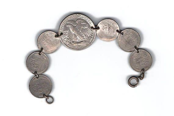 Antique US penny bracelet 1944 Walking Liberty half dollarAntique US penny bracelet 1944 Walking Liberty half dollar, silvered 6 pennies from 1944, silvered pennies, coin bracelet, war bracelet. $25.00