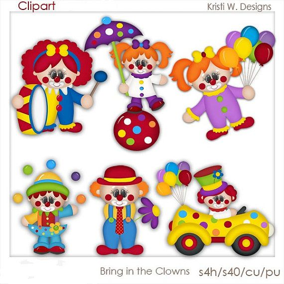 DIGITAL SCRAPBOOKING CLIPART  Bring In The Clowns by BoxerScraps