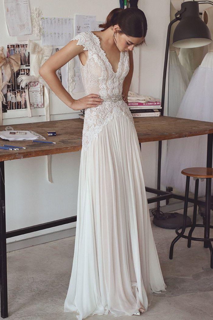 Chiffon Crystal Glamorous Lace Cap-Sleeve Lace Long Wedding Dress