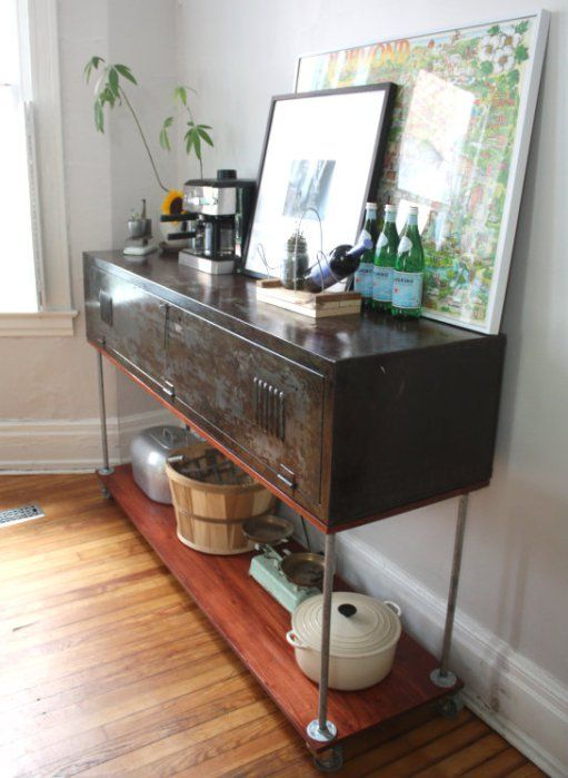 Vintage metal locker repurpose console table diy for Repurposed metal furniture
