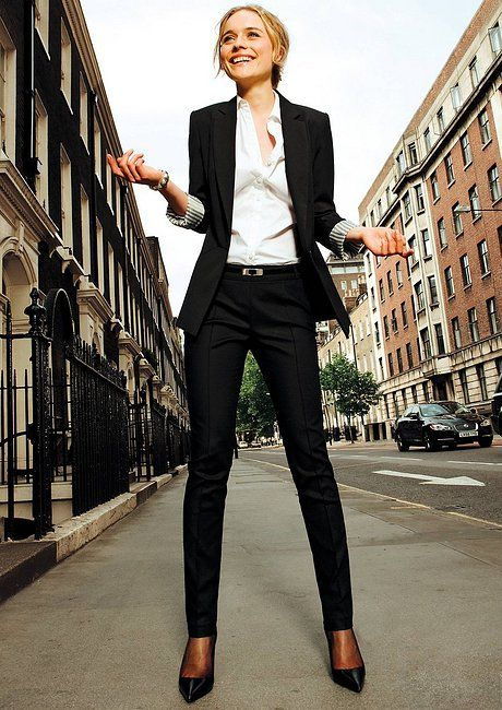 I really like the style of a slim dress pant like these. Also a good tip to know is that some offices want you to be wearing pantyhose with your dress pants and skirts, like this model.