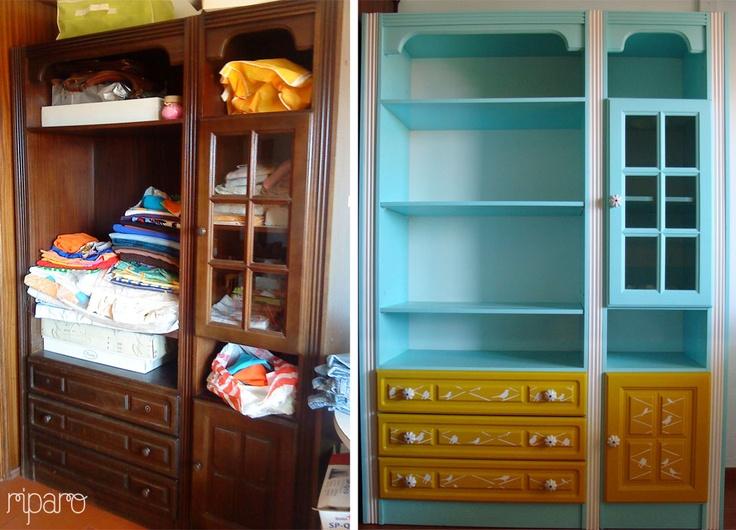 estante azul menta, amarelo gema e branco