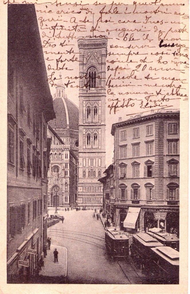 Firenze 1939, il tram in Piazza Duomo