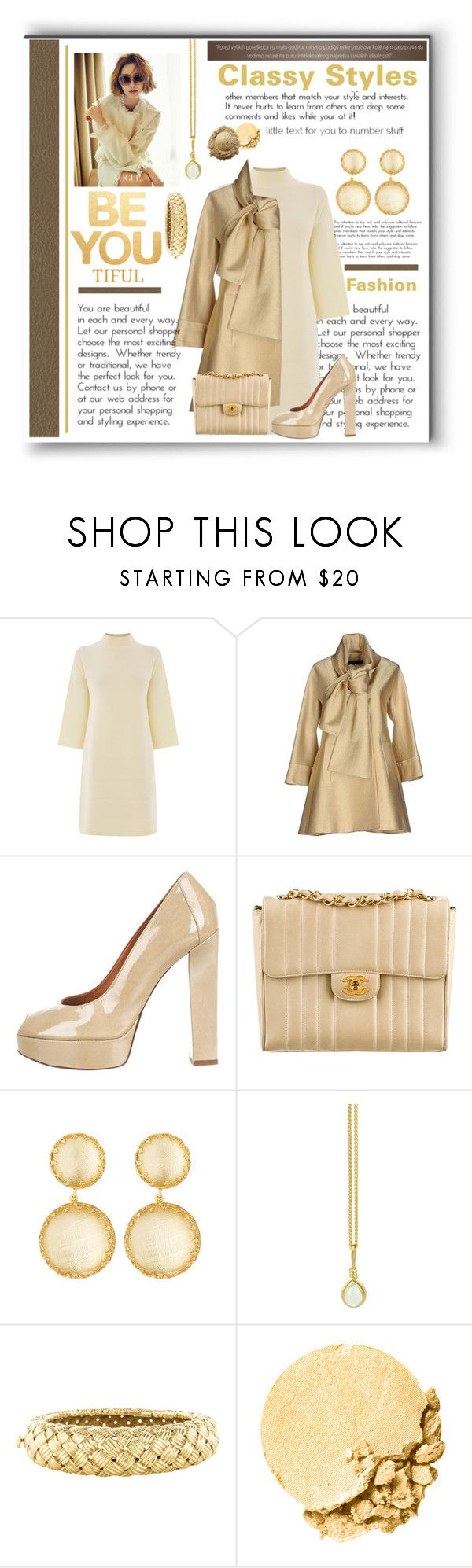 """""""Classy Styles"""" by diva1023 ❤ liked on Polyvore featuring Warehouse, Elie Saab, Lanvin, Chanel, Larkspur & Hawk, Prism Design, Angela Cummings, Lancôme, women's clothing and women's fashion"""