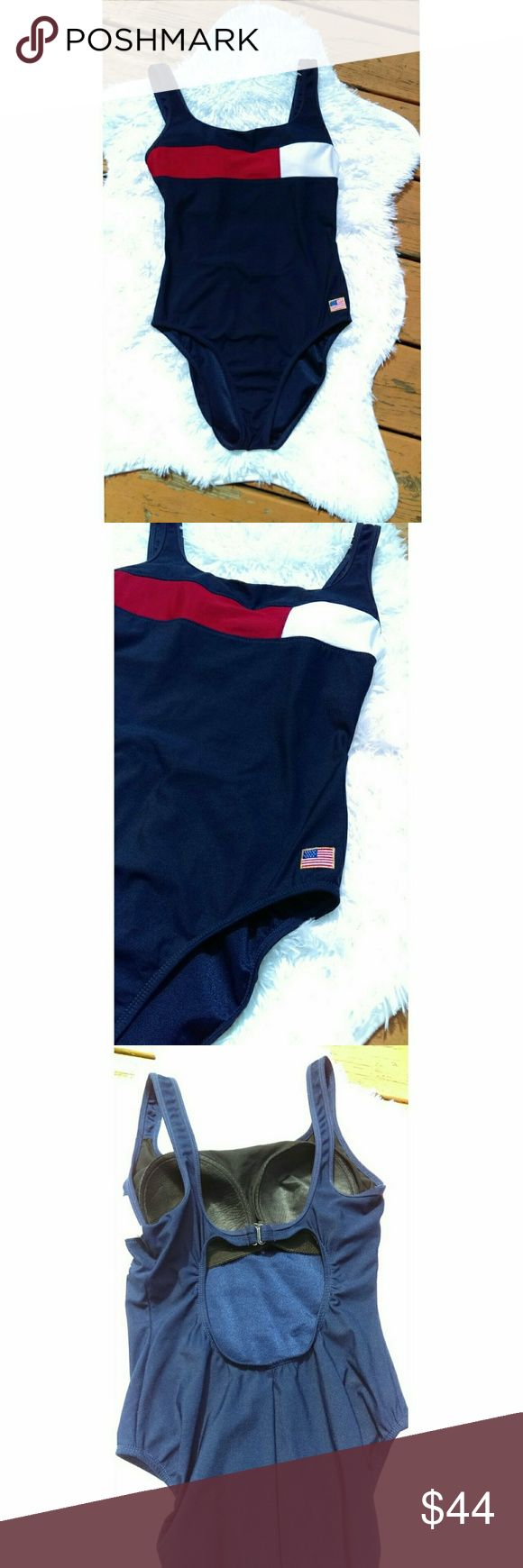 Tommy Hilfiger inspired one piece swimsuit Super cute Tommy Hilfiger inspired one piece swimsuit. No flaws. Size: 14 tall beach native Swim One Pieces