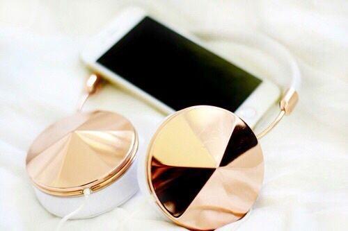 grafika iphone, headphones, and gold