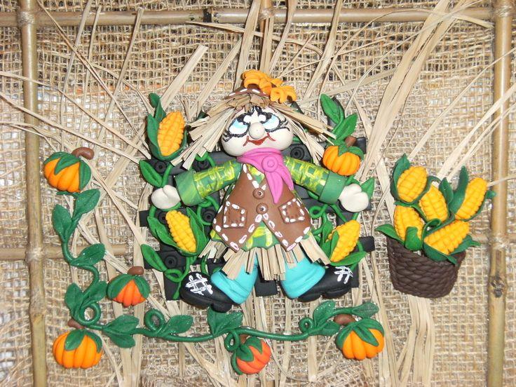 Tablou ,sperietoare de pasari,realizat manual din fimo,bete bambus,canepa!