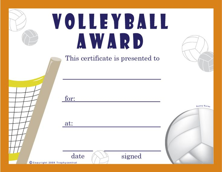 19 best Volleyball certificates free printables images on - free award certificates