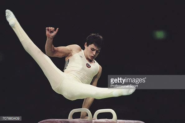 Russian gymnast Dmitry Bilozerchev , competing for the Soviet Union, pictured in action on the pommel horse during competition to win the bronze medal in the Men's artistic individual all-around...