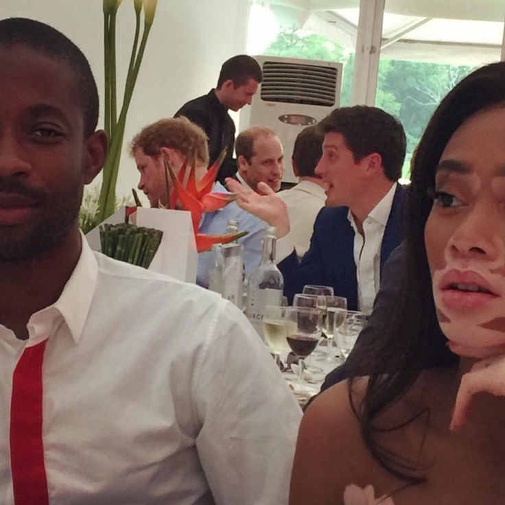 """Model Winnie Harlow posted this unexpected  gem, which was snapped at the Audi Polo Challenge in London, to Instagram on Saturday. She is a former ""America's Next Top Model"" contestant"" who was at lunch with her agent, when two priceless photos with Princes Harry and William - UK (seen in the background), were snapped. Kudos, to the unnamed photographer."