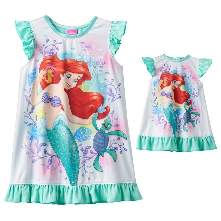Disney's The Little Mermaid Ariel Toddler Girl Dorm Nightgown & Doll Gown Set, Size: 3T, Multicolor