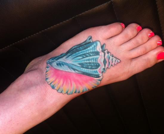 tattoos of conch shells | girly conch shell tattoo