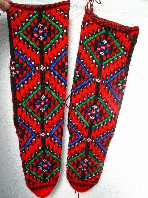 Traditional Macedonian socks from Radovish region