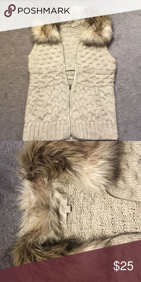 Sweater vest with fur collar Beige zip up sweater vest with fur collar LOFT Sweaters