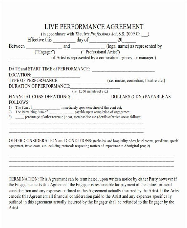 Artist Performance Contract Template In 2020 Contract Template